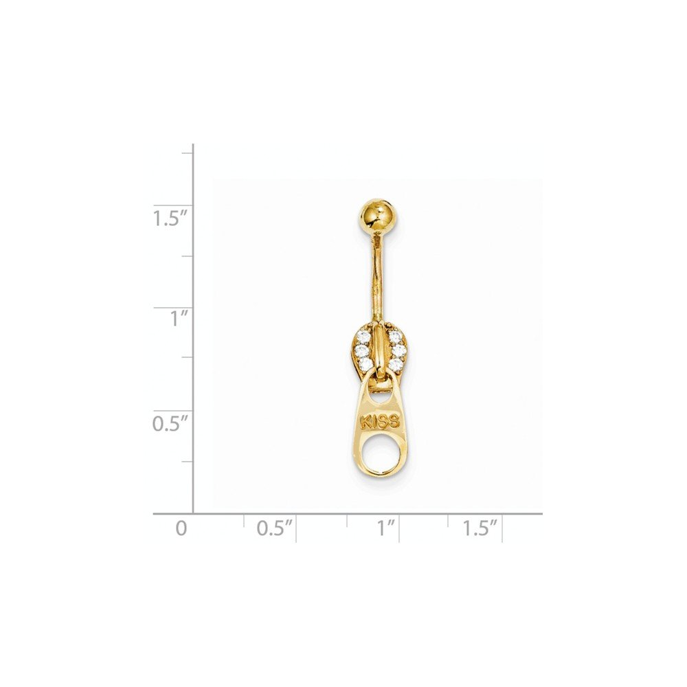 ICE CARATS 10k Yellow Gold Zipper Belly Button Rings Screw Navel Bars Body Piercing Naval Fine Jewelry Gift Set For Women Heart by ICE CARATS (Image #3)