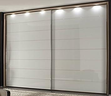 Schlafzimmer Schrank Tinos Glas weiß mit Spiegelrille ...
