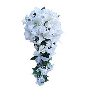 "Wedding Flowers 23"" Rose Lily Cascading Bridal Bouquet Teardrop Wedding Bouquet Silk Home Party Decor (Cream) 48"