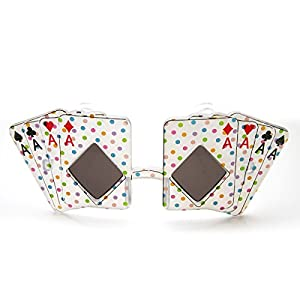 zeroUV - Card Shape Aces Four of A Kind Poker Party Novelty Las Vegas Sunglasses