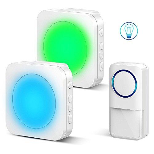 Wireless Doorbell - Door bells Kit,Cordless Doorbells with 1 Waterproof Remote Button and 2 Plugin Receivers.Over 1300ft Operating Range,52 Chimes.4 Adjustable Volume (7 Colors Night Light) by oannao