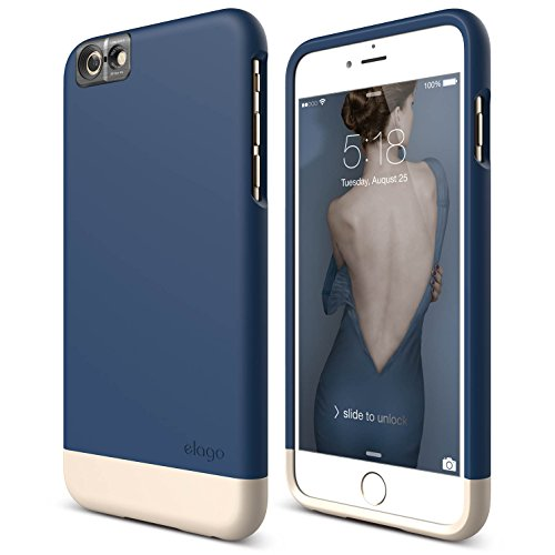 iPhone 6S Plus Case, elago [Glide Cam][Jean Indigo/Champagne Gold] - [Mix and Match][Premium Armor][True Fit] – for iPhone 6S Plus Only ()