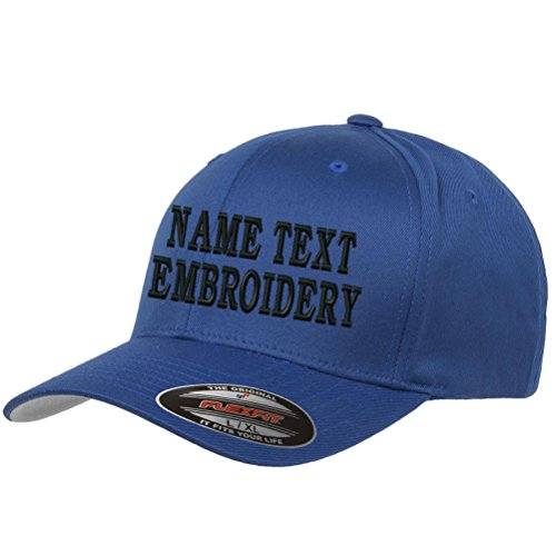 ba0eaace0da Custom Embroidery Hat Personalized Flexfit 6277 Text Embroidered Baseball  Cap - Blue. by caprobot id