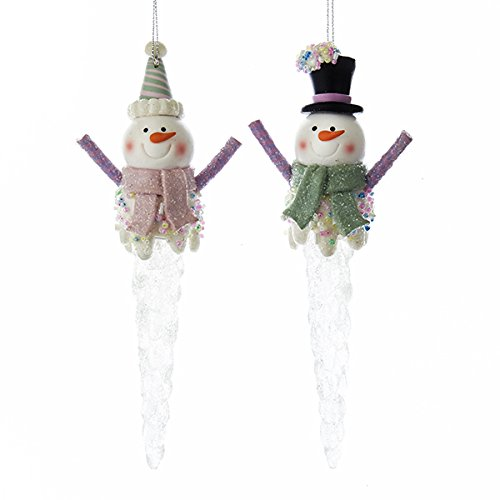 Snowman Icicle Ornament - Kurt Adler Snowman on Icicles Christmas Ornaments 2 Assorted