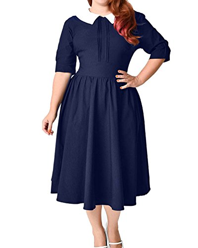 50s style bridesmaid dresses navy - 4