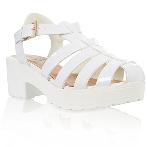 WOMENS LADIES CUT OUT CHUNKY BLOCK HEEL ANKLE STRAP GLADIATOR SANDALS SHOES White Patent 2qukD83TYq
