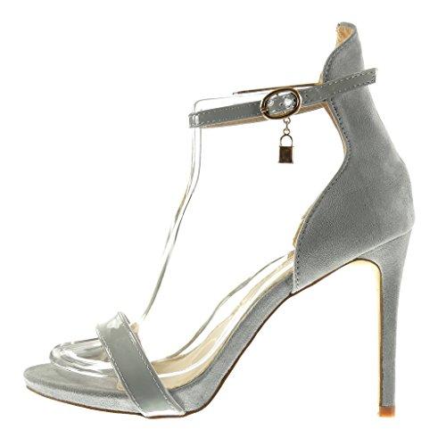 Angkorly - Scarpe da Moda scarpe decollete sandali stiletto con cinturino alla caviglia sexy donna fibbia lucide Tacco Stiletto tacco alto 11 CM - Grigio