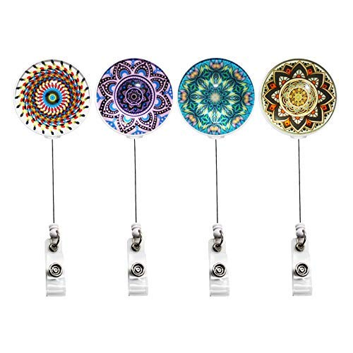 YOUKOOD Time Gem Crystal Glass Retractable Badge Holder, ID Badge Reel with Print Pattern 360°Alligator Swivel Clip 4 Pack (Kaleidoscope)