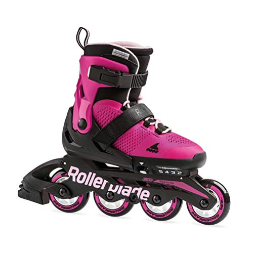 Rollerblade Microblade Girl's Adjustable Fitness Inline Skate, Pink and Bubble Gum, Junior, Youth Performance Inline Skates, Youth, Junior 11J-1 ()