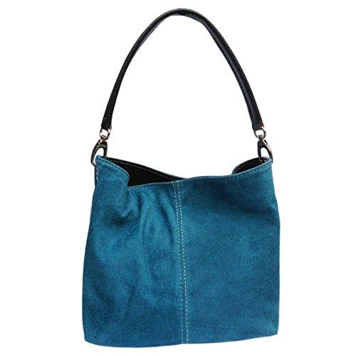 Ladies Real Italian Suede Leather Small Mini Shoulder Handbag Tote Bag Dark Turquoise