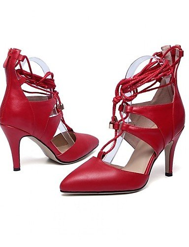 ZQ Zapatos de mujer - Tac¨®n Stiletto - Tacones / Puntiagudos - Tacones - Oficina y Trabajo / Vestido / Deporte - Cuero -Negro / Marr¨®n / , red-us11 / eu43 / uk9 / cn44 , red-us11 / eu43 / uk9 / cn44 brown-us6.5-7 / eu37 / uk4.5-5 / cn37