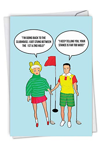 Stung Between Holes: Funny Birthday Card With a cheeky golf course joke, with Envelope. (Golf Jokes Birthday Card)
