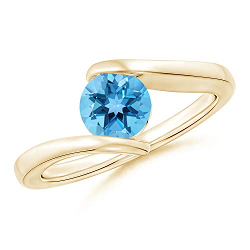 Bar-Set Solitaire Round Swiss Blue Topaz Bypass Ring in 14K Yellow Gold (6mm Swiss Blue Topaz)