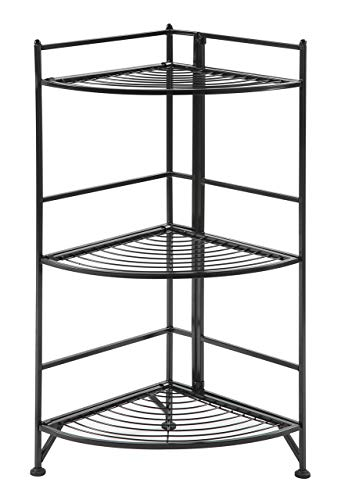 - Convenience Concepts 8022B Designs2Go X-Tra Storage 3-Tier Folding Metal Corner Shelf, Black