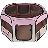 Durable 45'' Dia. x 24'' H Octagon Pet Playpen Dog Puppy Exercise Pen Canine Training Kennel Pink w/ Mesh Cover Panels Zipper Doors Waterproof Portable Tote Case