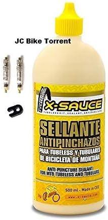 X-Sauce Kit Sellante Anti Pinchazos para Tubeless, Amarillo, 500ml +2 obuses+Llave Desmontar