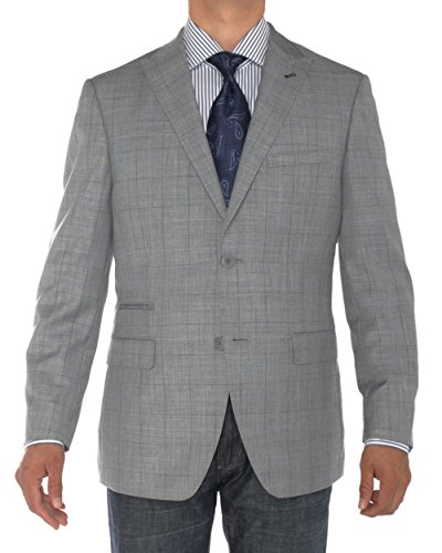 LN LUCIANO NATAZZI Mens Two Button Ticket Pocket Blazer Modern Fit Suit Jacket (44 Regular US / 54R EU, Gray)