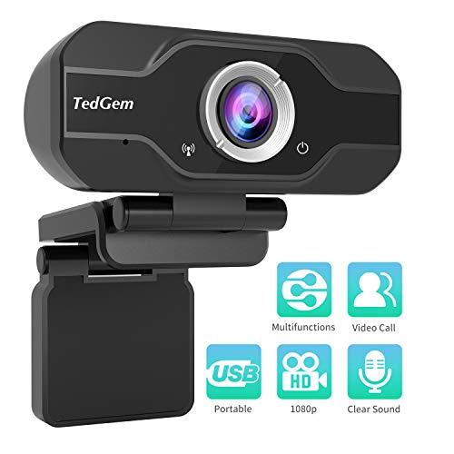 PC Webcam, TedGem 1080P Full HD Webcam USB Desktop & Laptop Webcam Live Streaming Webcam with Microphone Widescreen HD Video Webcam 90-Degree Extended View for Video Calling (HD Webcam)...