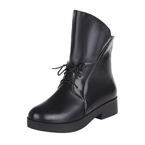 Allhqfashion Mujeres Solid Low-heels Round Closed Toe Botas Con Cordones Pu Negro