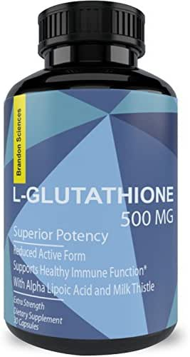 L-Glutathione Skin Whitening Capsules Glutamic and Amino Acids Immune Function Support and Detox Benefits Alpha Lipoic Acid Milk Thistle Extract For Strength 500 mg Supplements