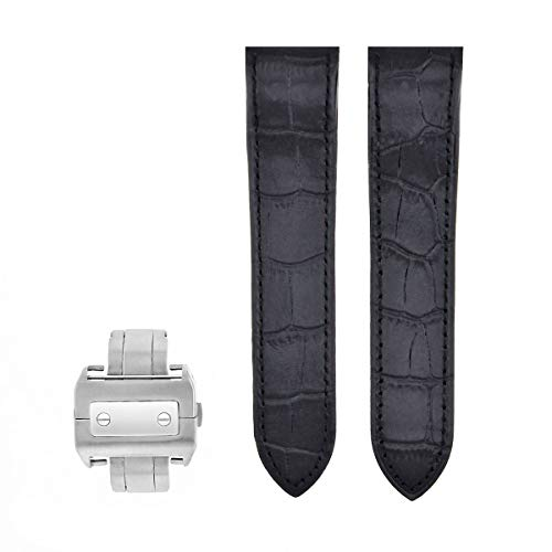 (Ewatchparts Complete Leather Strap Band for Cartier Santos 100 XL Chronograph W20090X8 Black)