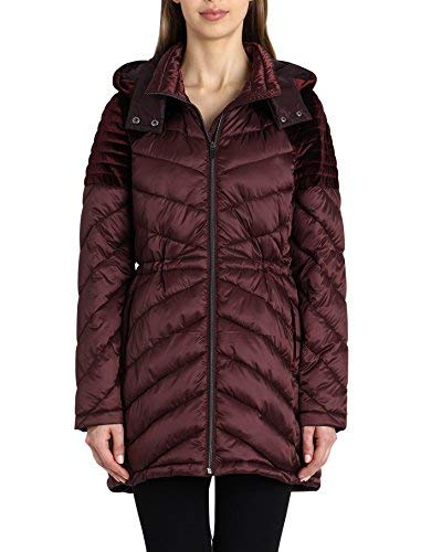 Badgley Mischka Women's Water Repellent Packable Down Anorak, Burgundy, Extra ()