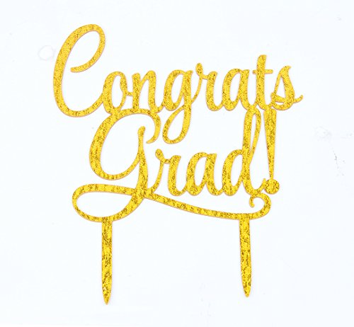 Congrats Grad Gold Acrylic Cake Topper for Graduation Party Decorations