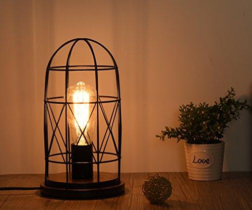Surpars House Wood Retro Table Lamp Metal Shade Edison Bulb Included Warm White Light,Black (Retro Desk Metal)