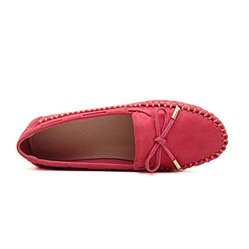 T-juli Vrouwen Instappers Schoenen Casual Mocassin Rijden Slip-on Strik Suede Comfortabel Plat Rood