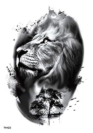 Tatuaje falso tatuaje de leones TH623: Amazon.es: Belleza