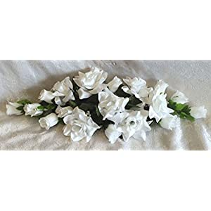 WHITE SWAG Silk Wedding Flowers Roses Arch Gazebo Decor Centerpieces Reception 16