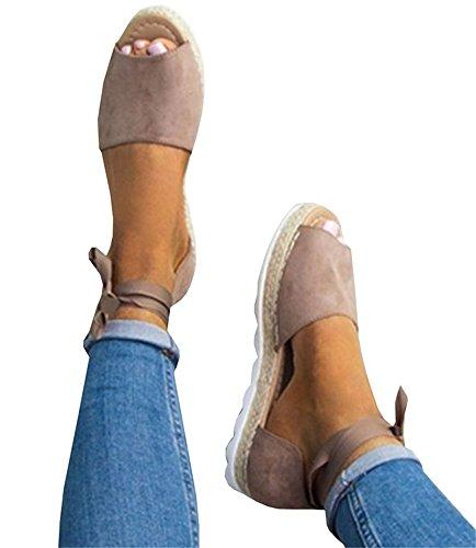 Fashare Womens Espadrilles Tie up Flat Sandals Peep Toe Espadrille - Ankle Tie Flat Sandal