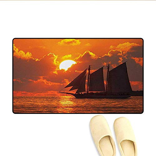 Doormat,A Boat Sailing in Front of a Sunset in Key West Florida Sundown Tropical,Floor Mat Bath Mat for Tub,Orange Dark Orange,Size:32
