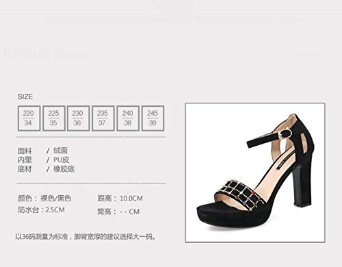 Heeled Naked KPHY Fashion Buckles Rough High Diamond Shoes Sandals color Simple 10Cm Summer Toes r1xrqUg7