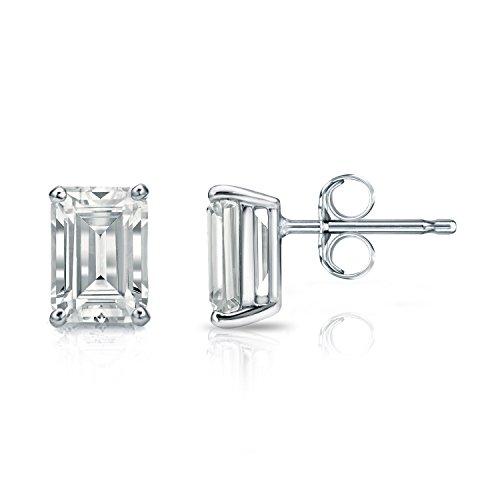 (Diamond Wish 14k White Gold Emerald-Cut Diamond Stud Earrings (2 carat TW, White, SI2-I1, IGI Certified) 4-Prong Basket, Push-Back)