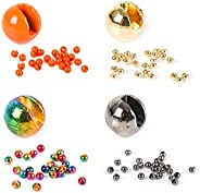 Maxcatch Slotted Tungsten Fly Tying Beads 100PCS Plated/Diamond Nymph Multi Color Fly Tying Materials 2.4/2.5/