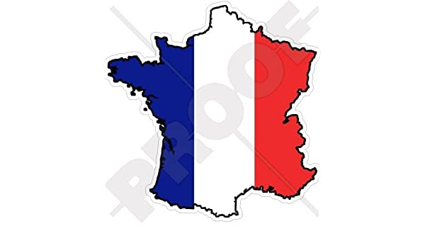 France Map Flag.Amazon Com France French Map Flag 5 4 136mm Vinyl Bumper Sticker