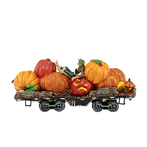 Department 56 Snow Village Halloween Jack and His Lanterns Train Car Lit Ornament, (Dept 56 Halloween Train)