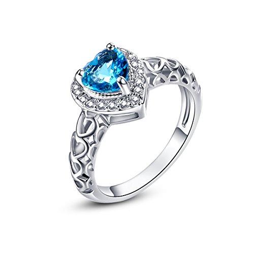 Psiroy 925 Sterling Silver Delicate Heart Blue Topaz - December Birthstone Promise Rings
