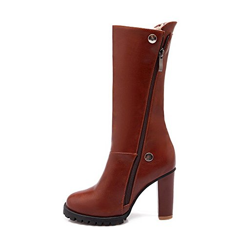 AmoonyFashion Womens Soft Material Round Closed Toe Solid High-Top High-Heels Boots Brown cUAuG8x