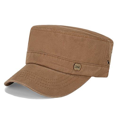 Vankerful Men's Twill Cotton Peaked Baseball Cap Cadet Army Cap Military Corps Hat Cap Visor Flat Top Adjustable Baseball Hat DFH199 Kakhi - Army Twill
