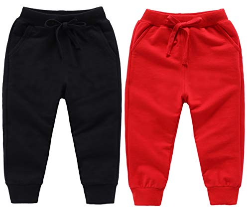 Astellarie Toddler Baby Boy Girl Active Elastic Waist Sport Cotton Jogger Sweatpants with Drawstring in Basic Color 18M-8T