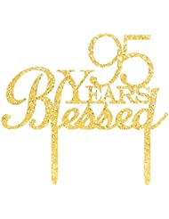 95 Years Blessed Cake Topper, Glitter Gold 95th Birthday / Wedding Anniversary Party Cake Topper Decoration