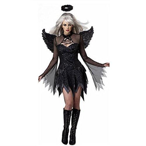 Halloween Angel Costume with Wings Headband Fancy Dress Demon Cosplay (Angel Demon Halloween Costumes)