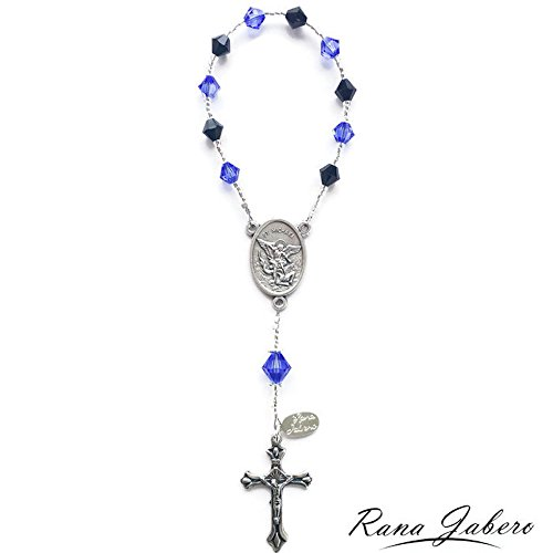 Rana Jabero Mini Saint Michael Police Officer Pocket Rosary made with crystals from Swarovski