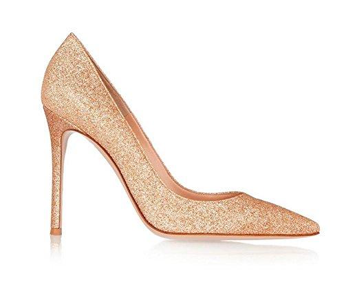 Toe Mund Einfache Pailletten Schuhe Schuhe Hochhackigen Metall Frauen Flachen Spitzen XIE Bankett 8wtx7T0
