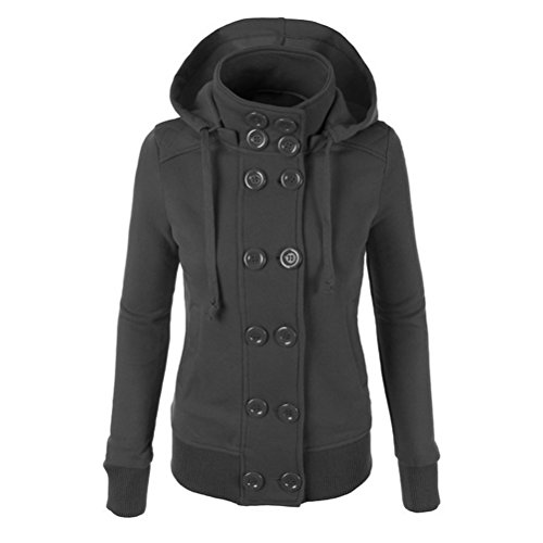 Zhhlinyuan Mujeres Ladies Winter Casual Stand Up Collar Hooded Sweatshirt Warm Outerwear Sweater Gray