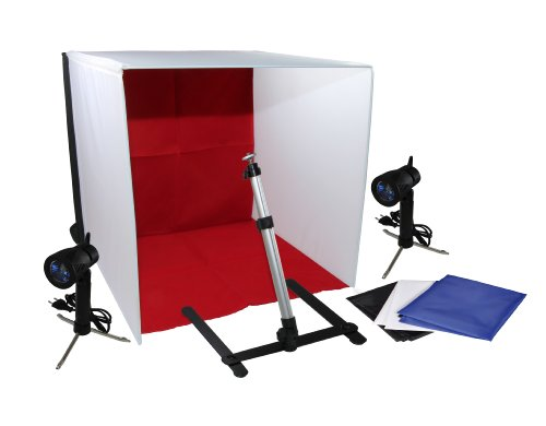 Luxburg® Softbox Studio Kit Professionale da tavolo con Lampada alogena e 4 sfondi - 40x40x40 1 spesavip