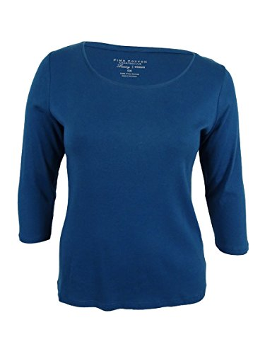 Charter Club Womens Plus Pima Cotton Scoop-Neck Casual Top Blue 1X (Cotton Pima Tunic)