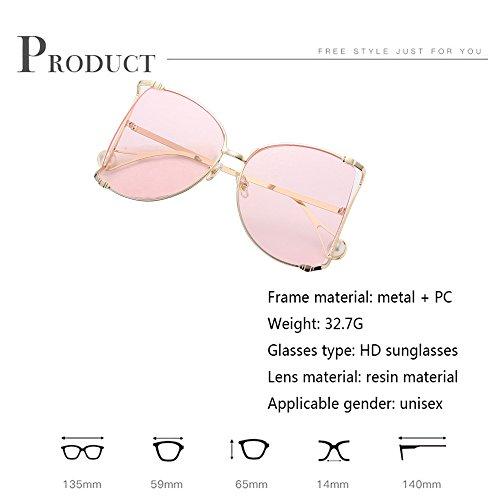 De Soleil Amérique Lunettes Pink Round Oversized Douerye Europe Metal Frame xwvWYcOZqX
